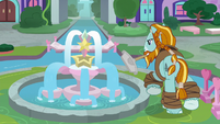 Rockhoof next to the water fountain S8E21