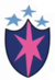 Pink six-pointed star on a purple shield with three small light blue stars above