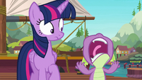 Spike lets out a cry of frustration S6E22