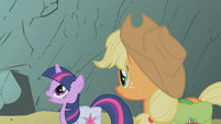 Twilight and Applejack entering avalanche zone S1E07