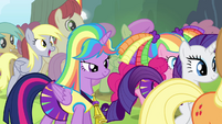 Twilight and friends walk up to Rainbow S4E10