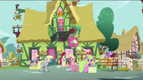 Derpy talks to the flower ponies S5E9