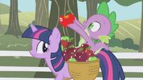 Spike holding up a shiny apple S01E03