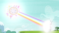 The Mane 6 shooting rainbow beam at Tirek S4E26