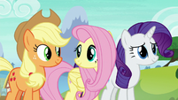 AJ, Fluttershy, and Rarity in agreement S8E24
