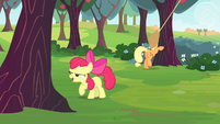 Apple Bloom ready to buck an apple tree S4E17
