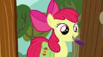 Apple Bloom takes out bottle of liquid S9E12