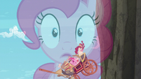 Double exposure of Pinkie narrating and the carriage falling down S5E11