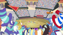 Ponies cheering for the two buckball teams S9E6