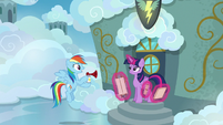 Rainbow Dash holding an airhorn S6E24