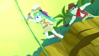 Rainbow Dash jumping toward a jungle vine SS12