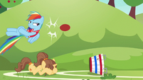 Rainbow returns the ball to Pinkie Pie S6E18