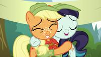 Applejack and Rara hugging S5E24