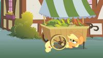 Applejack hiding under a vegetable stand S1E15