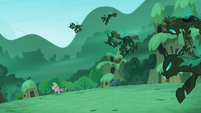 Changelings chase after Twilight and Spike S5E26