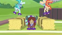 Cheer ponies backflip onto hay bales S9E15