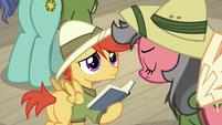Earth pony mare shakes head at Pegasus colt S9E21