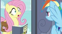 Fluttershy surprised at Rainbow's door S9E21
