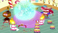 Pinkie and Luna in a magic barrier S5E13
