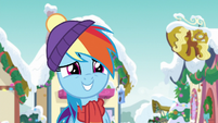 Rainbow Dash smiling innocently MLPBGE