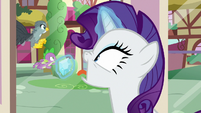 Rarity sees Spike and Gabby outside S9E19