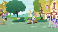 Spike startles Steam Roller into jumping into a hole S7E15