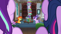 Starlight and Twilight looking at Sunburst and filly Starlight S5E26