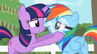 Twilights holds Rainbow Dash close to her S2E03