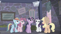 Main ponies hear Starlight's voice from loudspeaker S5E02