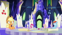Main ponies stunned by Rarity's declaration S9E4