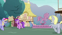 Ponies walking around Ponyville fountain S9E18
