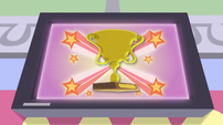 Trophy visual effect on television screen EGS1