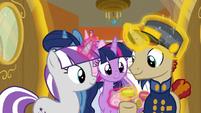 Twilight Velvet tipping the steward pony S7E22