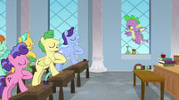 Friendship students saluting Spike S8E12