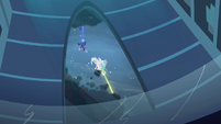 Luna and Celestia zaps the storm clouds S6E2