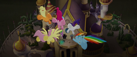 Main five and Spike fly toward the balcony MLPTM
