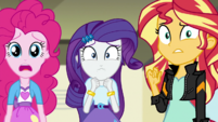 Pinkie, Rarity, and Sunset looking worried EGS1