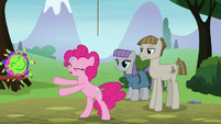 Pinkie tossing the pinata and stick away S8E3