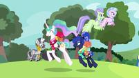 Princesses pass Hippogriffs and Zecora S9E13