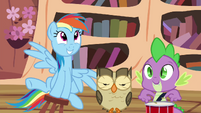 Rainbow, Owlowiscious and Spike playing around S4E21