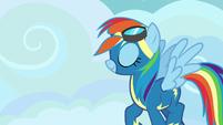 Rainbow Dash walking toward the barracks S7E23