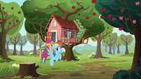 Rainbow flies Scootaloo to the clubhouse S8E20