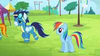 Rainbow sees the Wonderbolts walking away S4E10
