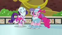 Rarity's face covered in snow by Pinkie Pie S6E3