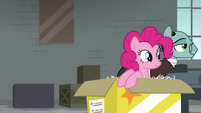Sans leads Pinkie Pie to assembly line S9E14