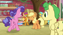 Students cheering for Applejack S8E12