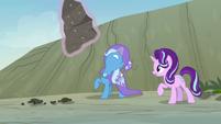 Trixie levitating a large rock S7E17
