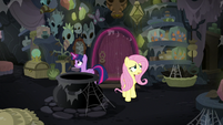 Twilight and Fluttershy explore the abandoned house S7E20