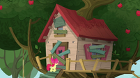 Clubhouse with boarded up door and windows S5E4