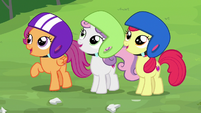 Cutie Mark Crusaders impressed by Chipcutter's work S7E6
